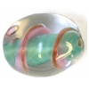 Glass Lamp Bead 18x13mm Oval Light Green/Gold